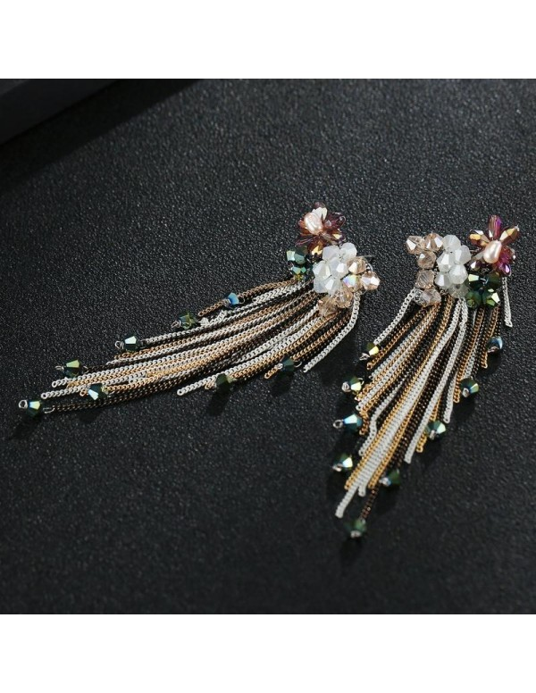 Jewels Galaxy Multicoloured Gold-Plated Handcrafted Tasseled Drop Earrings 2490
