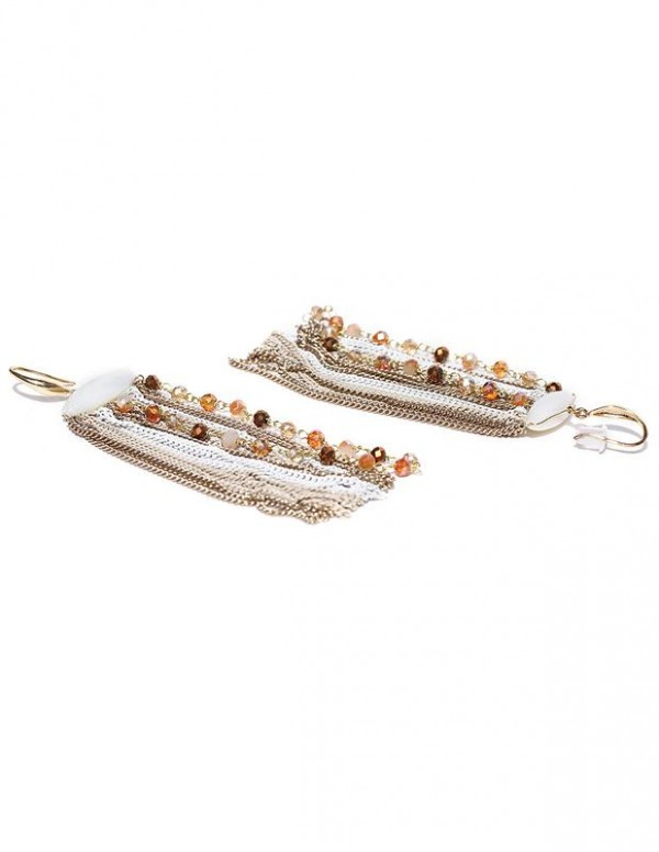 Jewels Galaxy Off-White Gold-Plated Tasseled Beaded Handcrafted Drop Earrings 2513