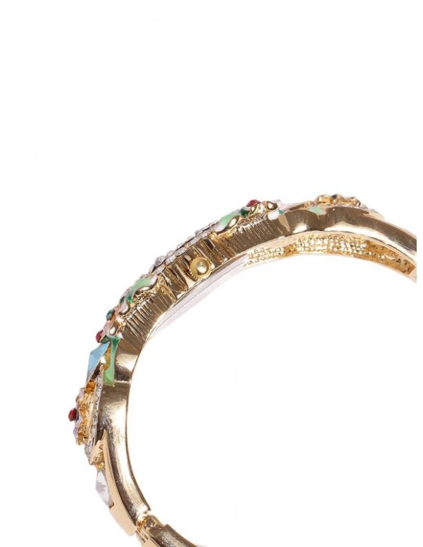 Jewels Galaxy Multicoloured Gold-Plated Brass Handcrafted Bangle-Style Bracelet cum Watch