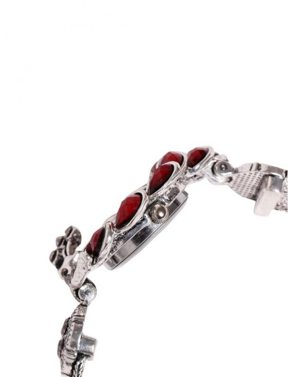 Jewels Galaxy Maroon Silver-Plated Handcrafted Bracelet cum Watch