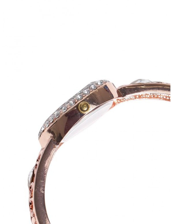 Jewels Galaxy 18K Rose Gold-Plated Handcrafted Bracelet Cum Watch