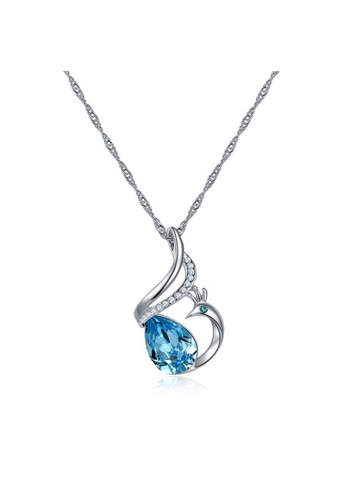 Blue Rhodium-Plated Handcrafted Pendant with Crystals From Swarovski & Chain