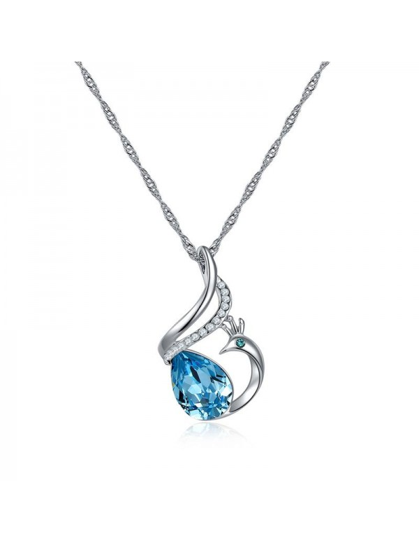 Blue Rhodium-Plated Handcrafted Pendant with Cryst...