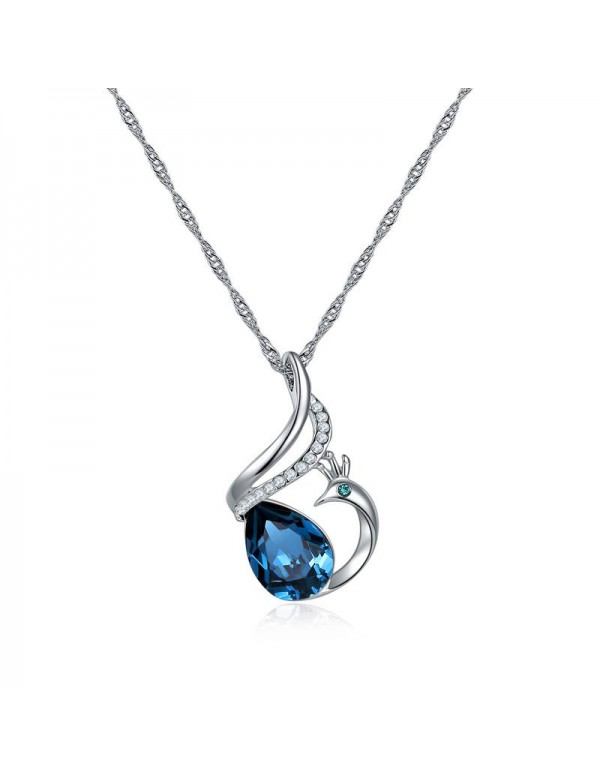 Rhodium-Plated Hand Painted Pendant with Crystals ...