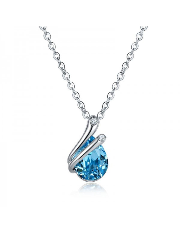 Rhodium-Plated Handcrafted Pendant with Crystals F...