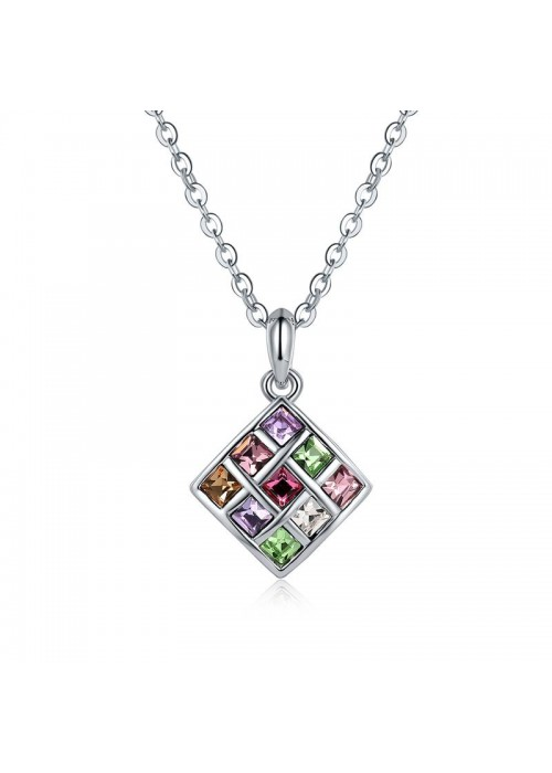 Rhodium-Plated Handcrafted Pendant with Crystals From Swarovski & Chain 27541